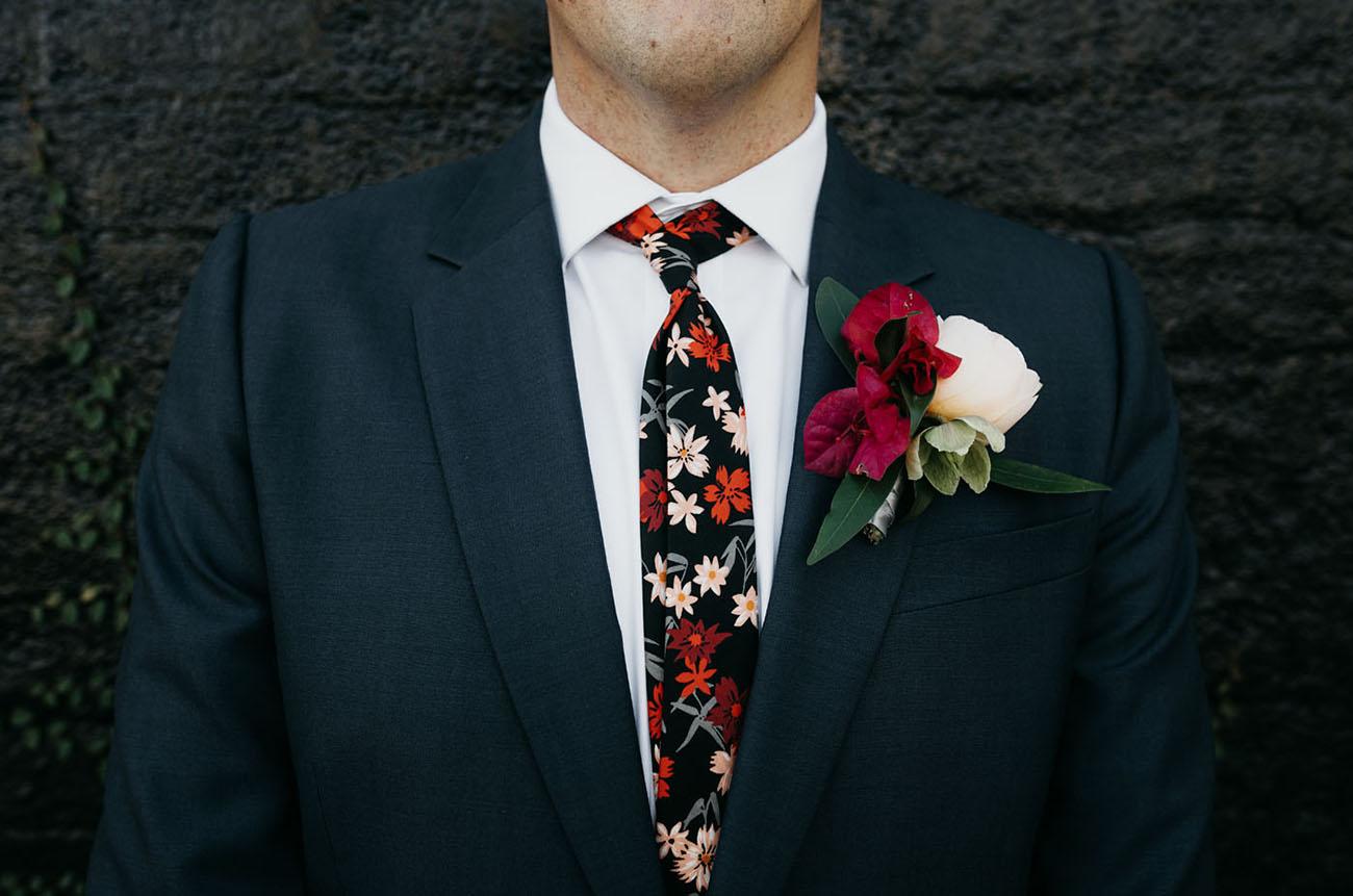 floral grooms tie