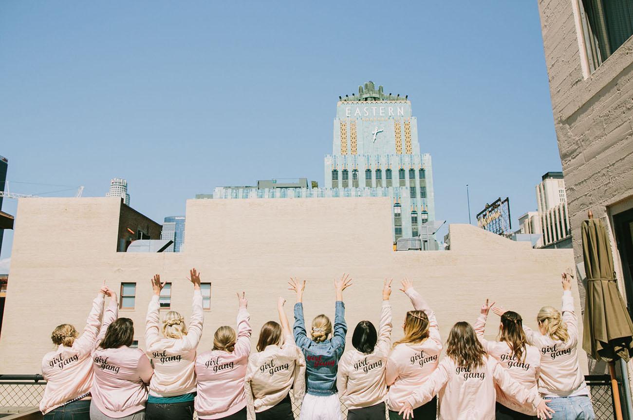 pink bridesmaid jackets