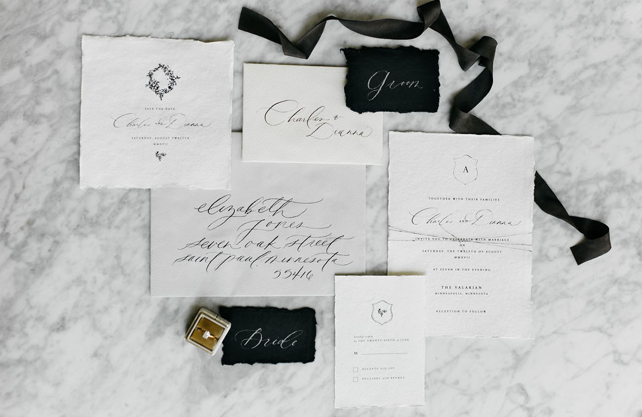 matte black invitation