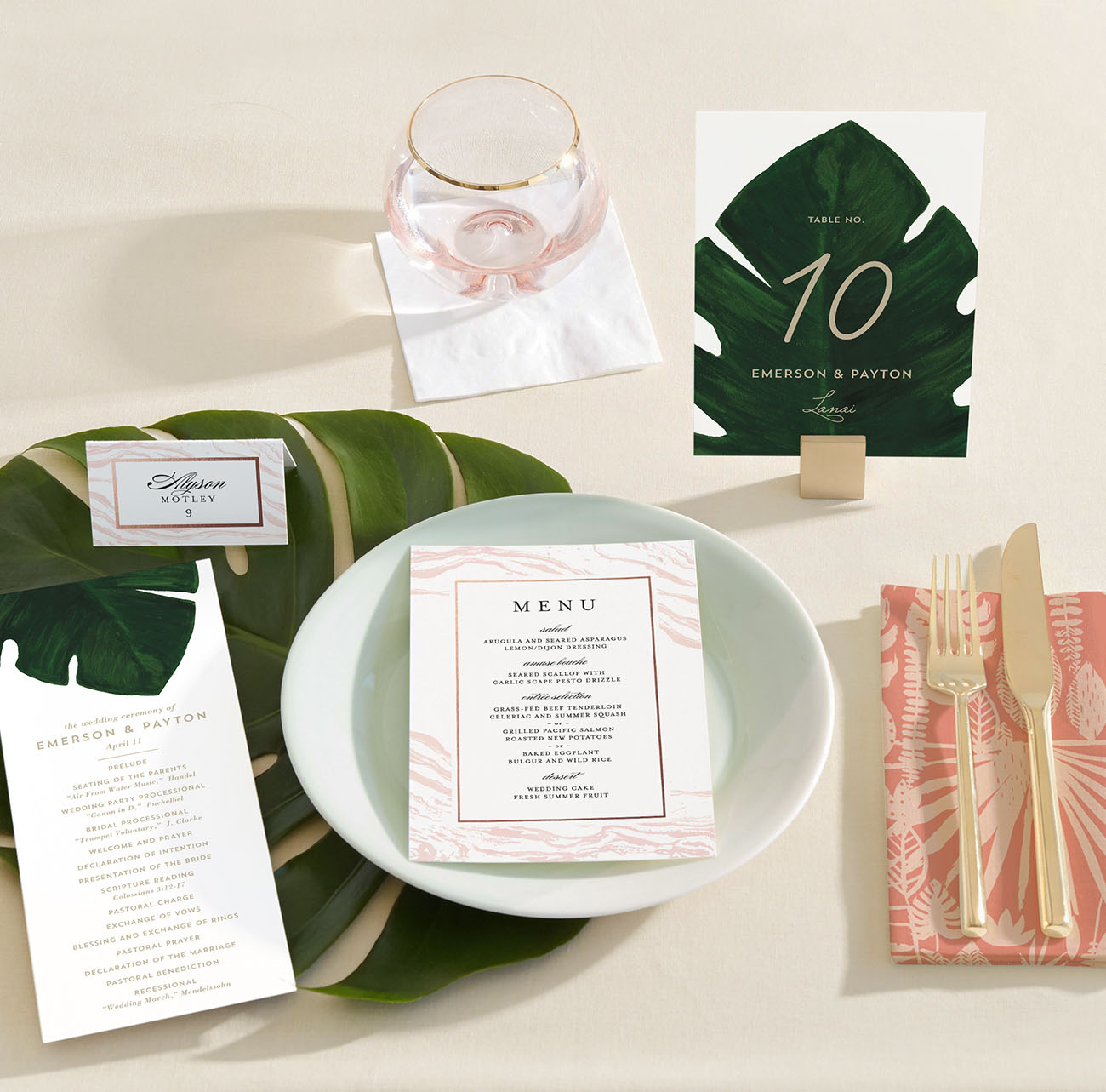Modern Tropical Table Numbers by Minted