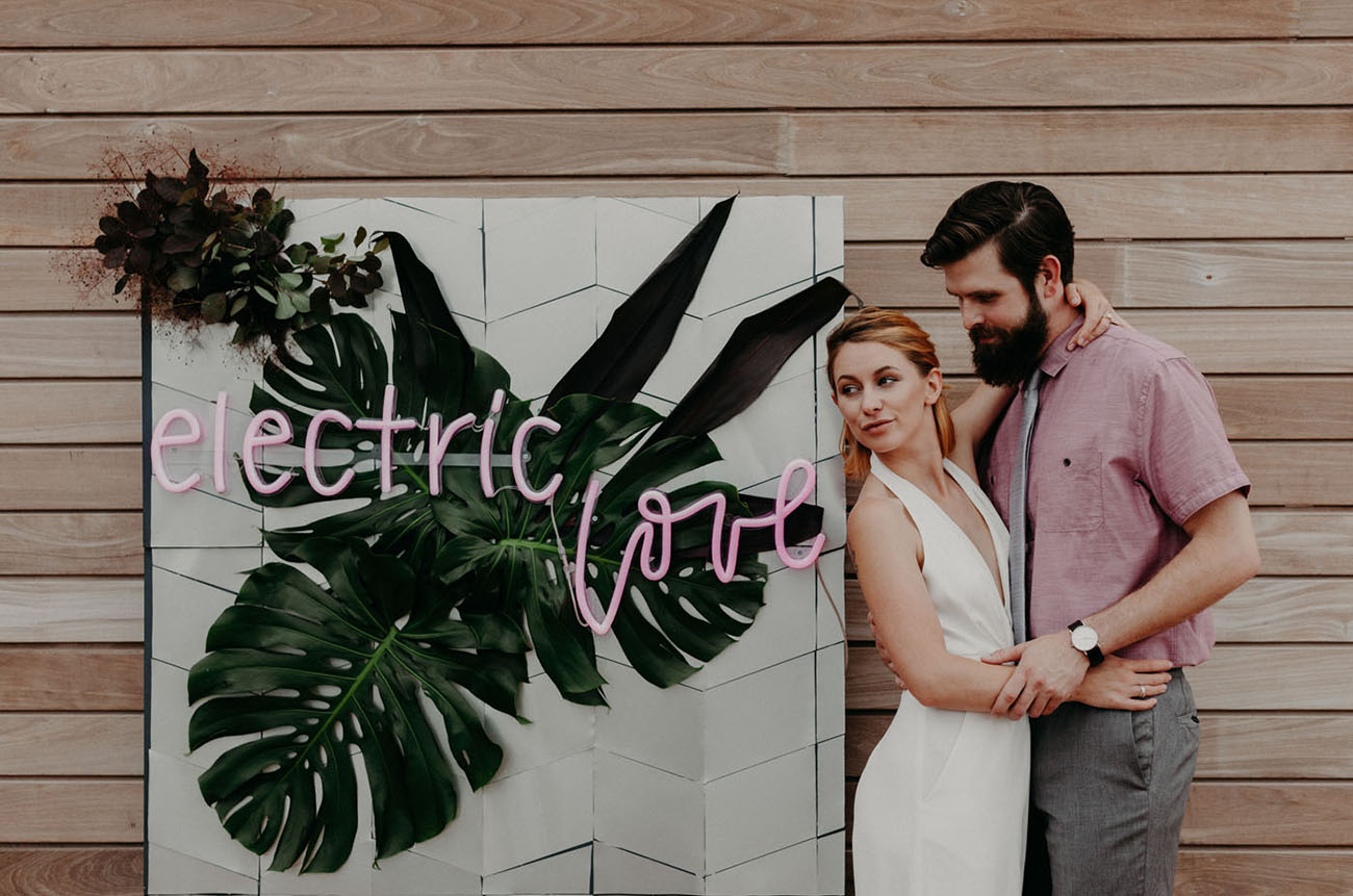 Electric Love: Modern Elopement Inspiration with Fluorescent Pops