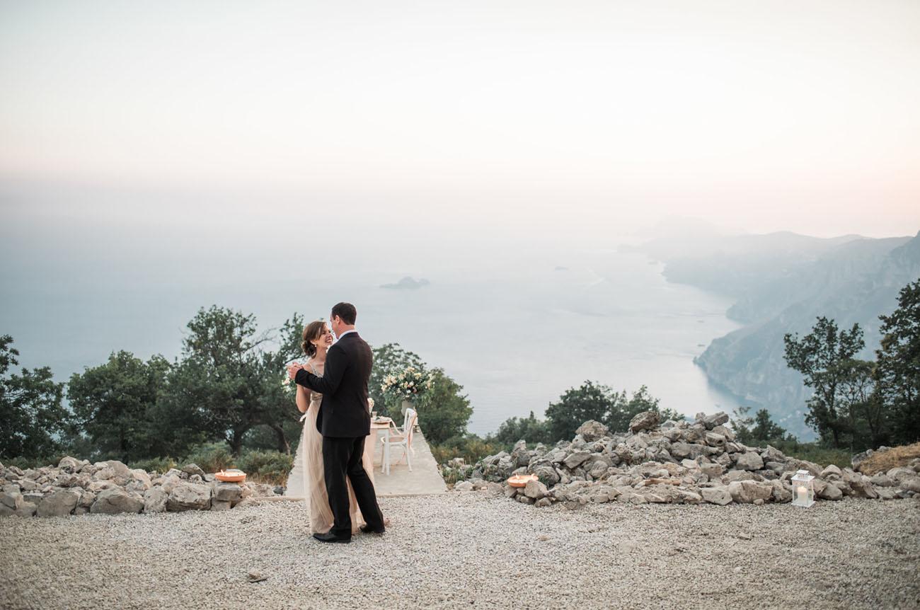 Fiery Mountaintop Elopement Above Positano, Italy