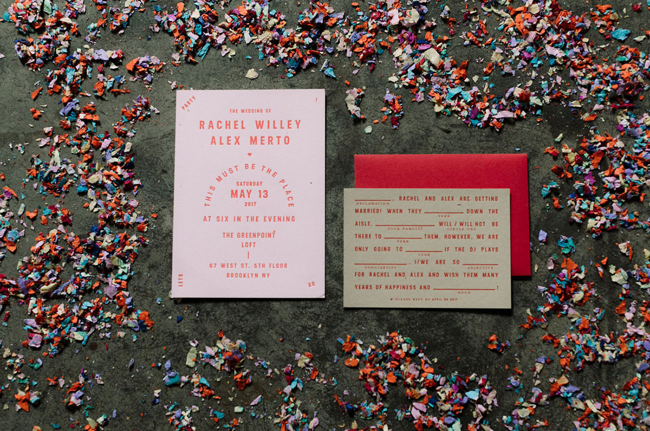 pink and red invite