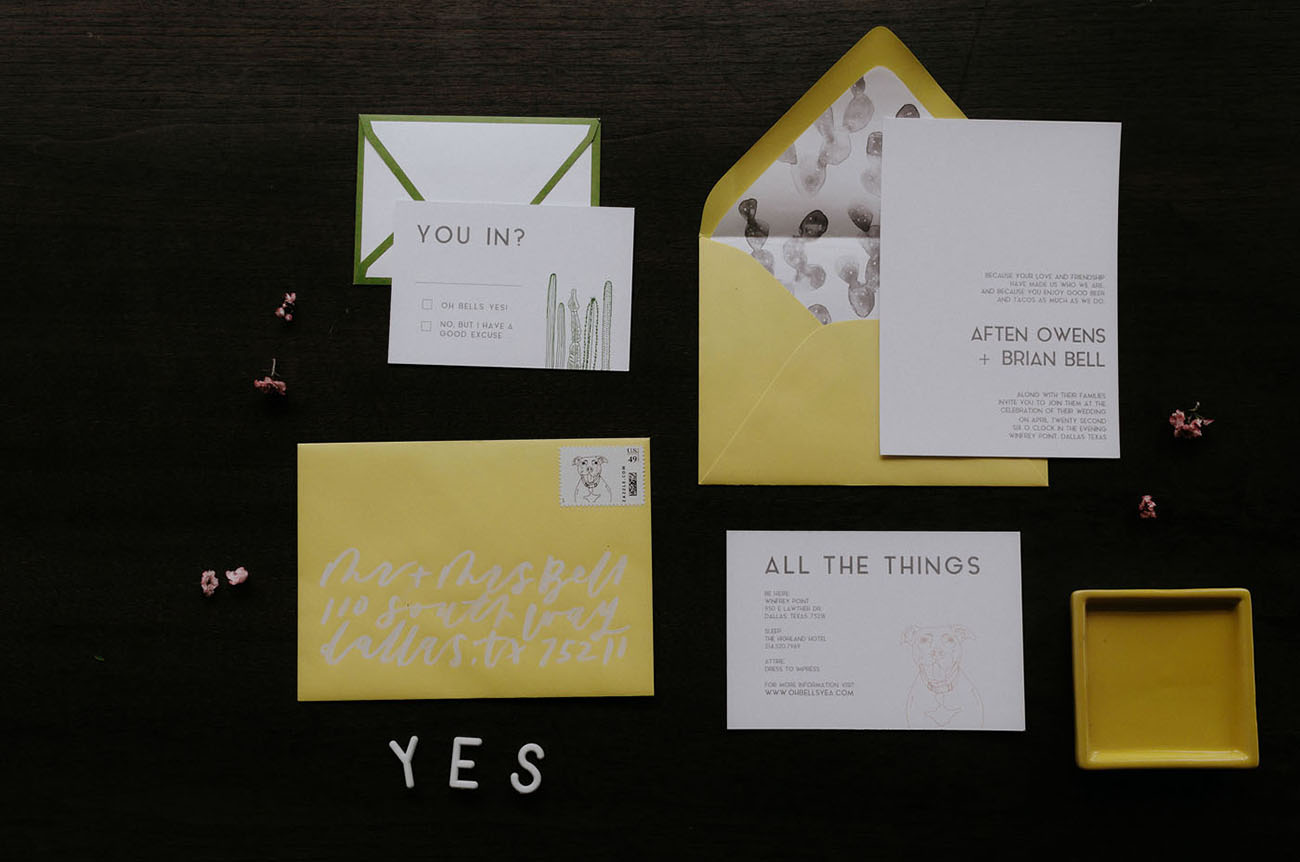 yellow envelope invitation