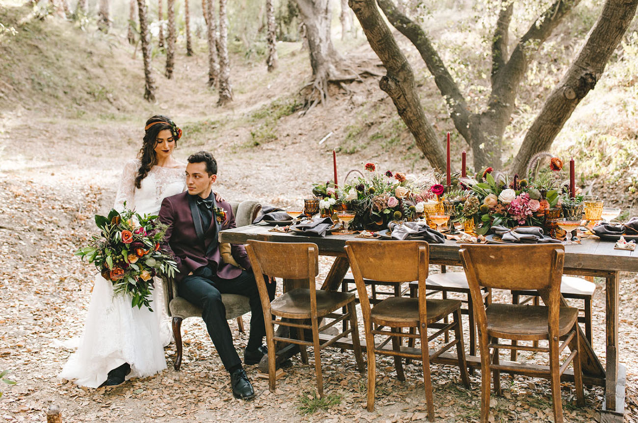 wedding inspiration with colorful fall foliage