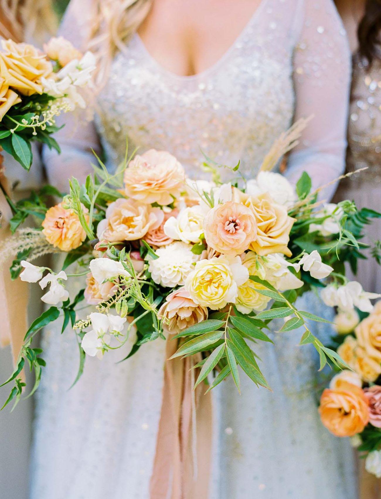 yellow peach bouquet