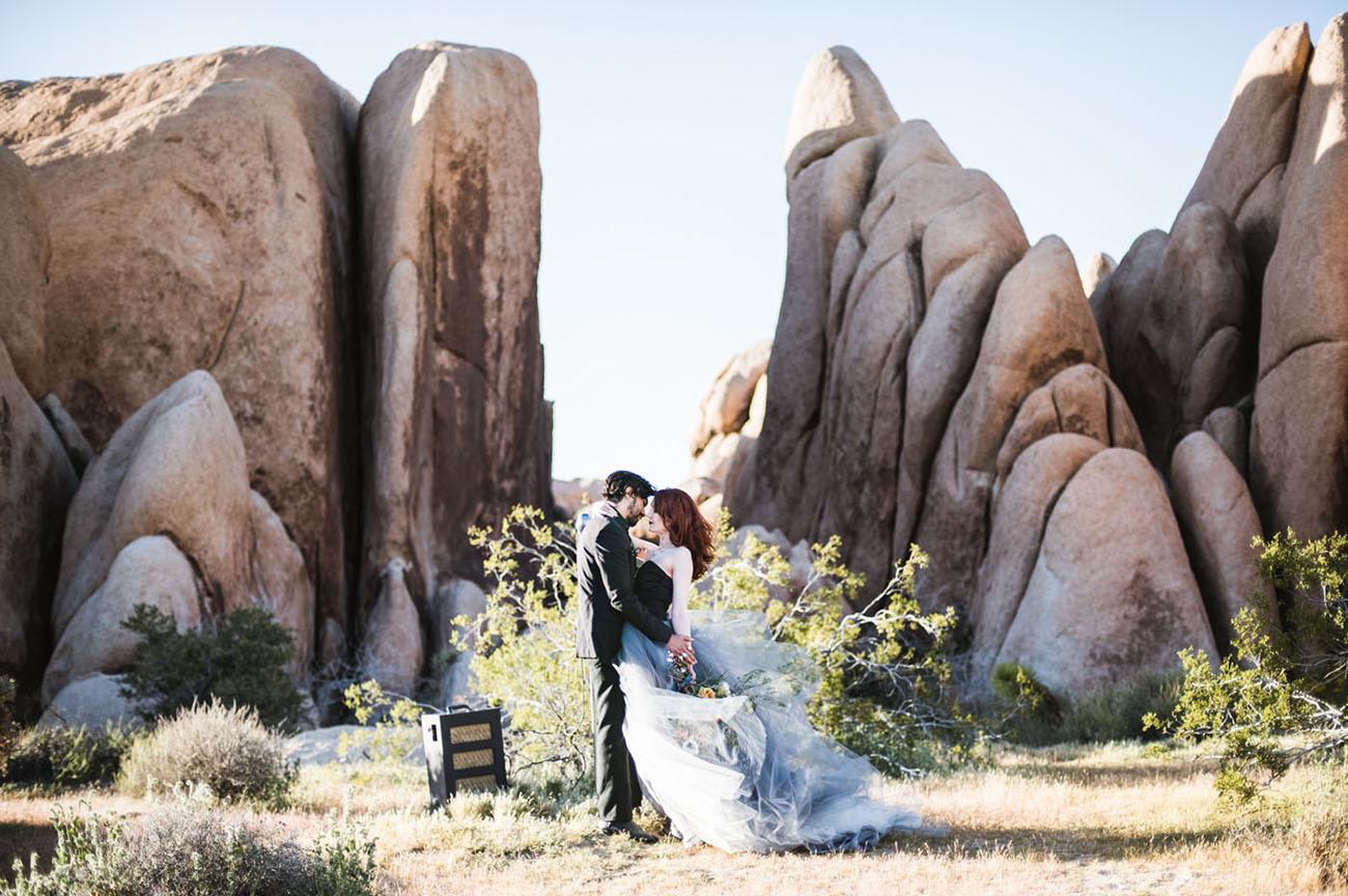 Blue Dress Desert Elopement