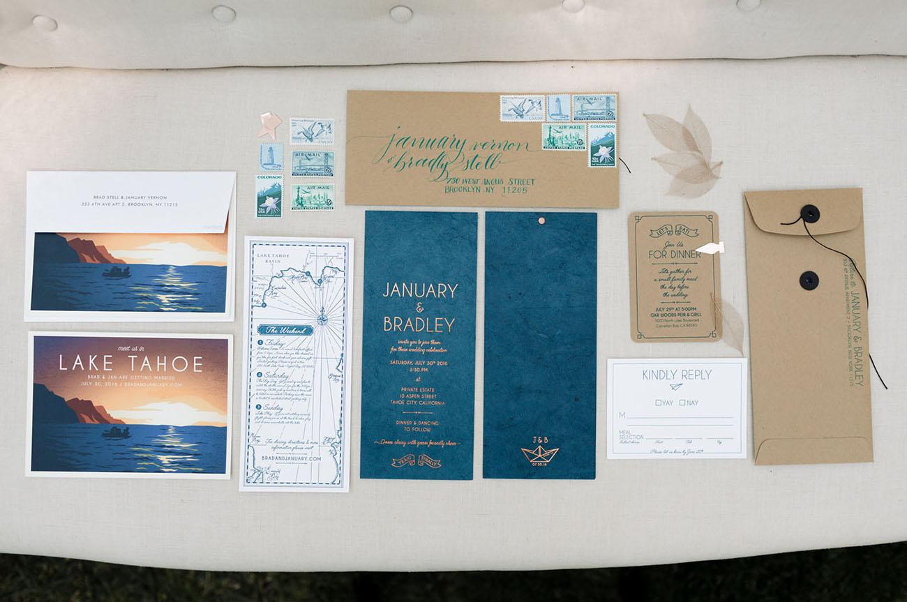 blue invitation suite