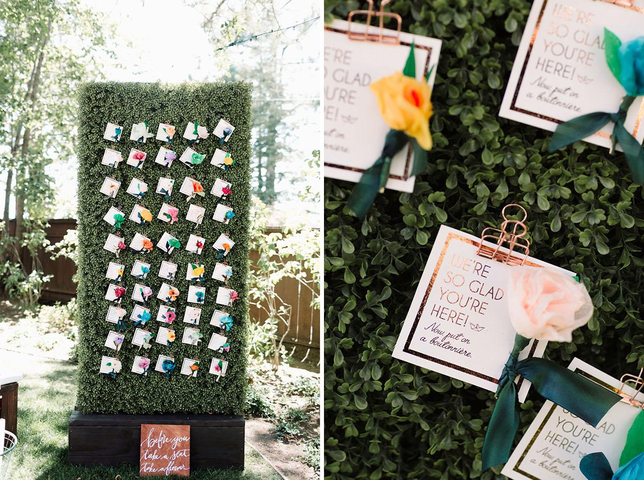 flower escort card display