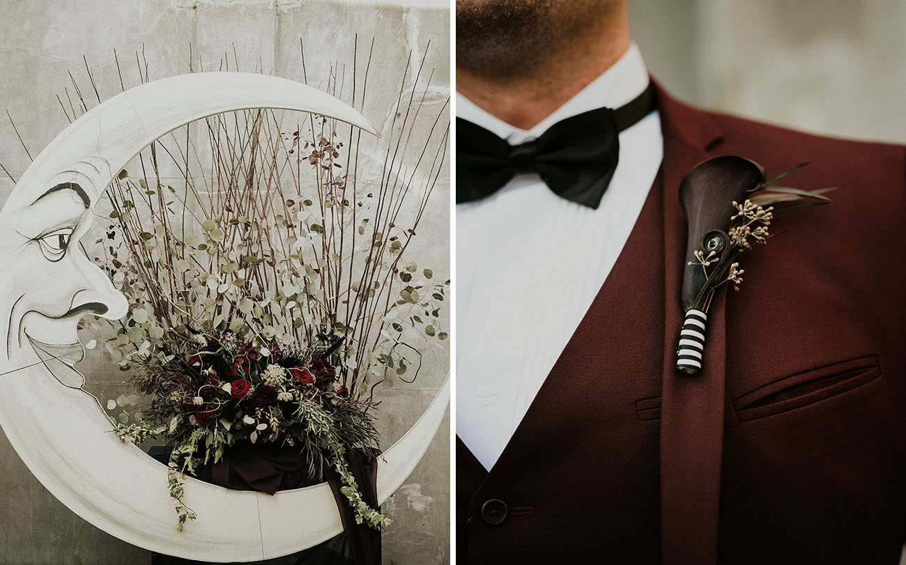 striped boutonniere