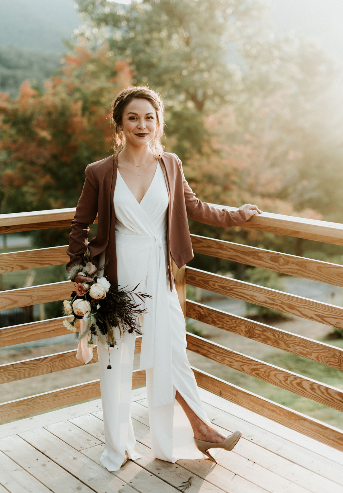 suede jacket bride