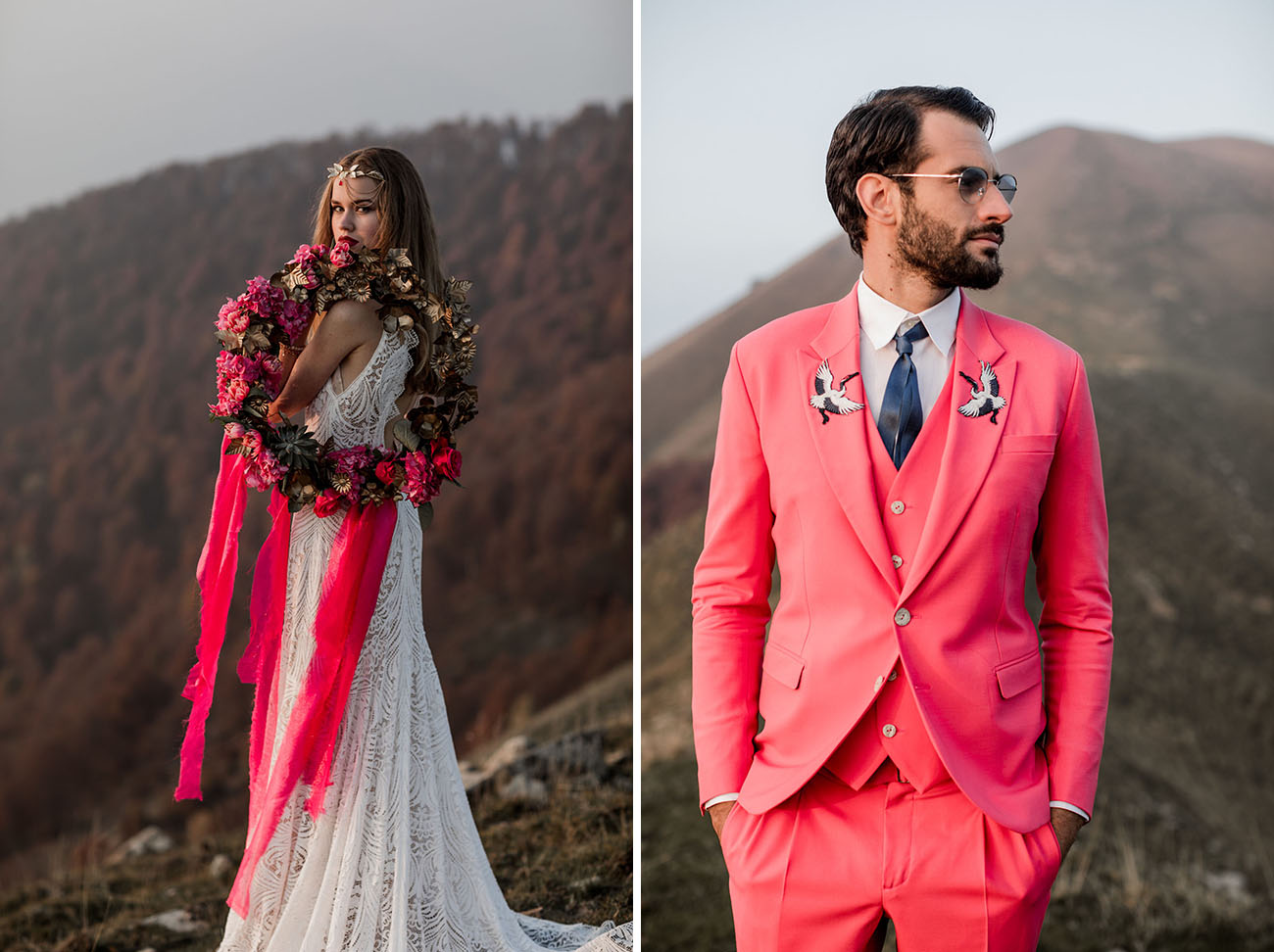 pink suit groom