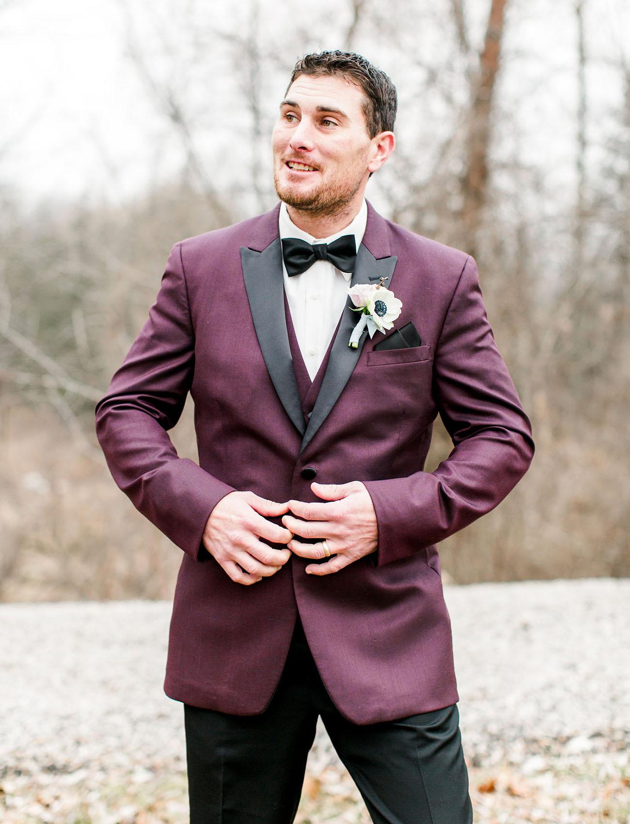 maroon groom suit