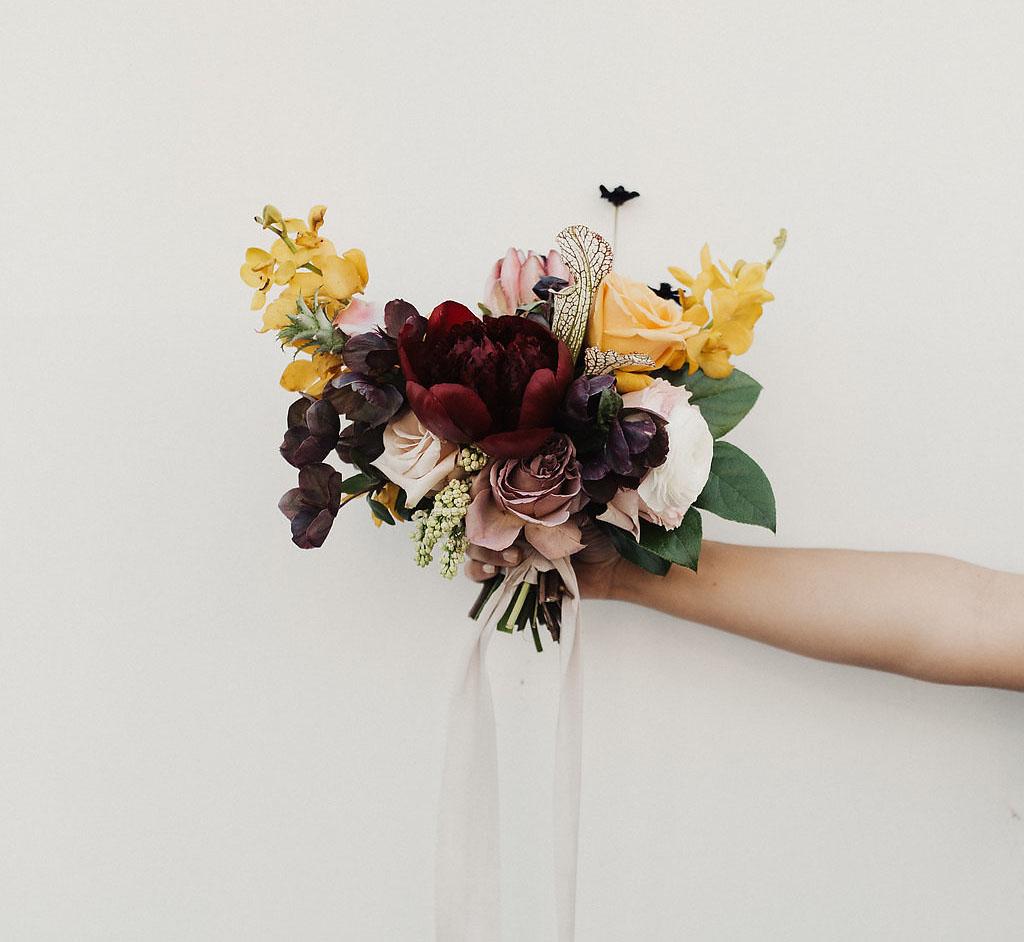 maroon peony bouquet