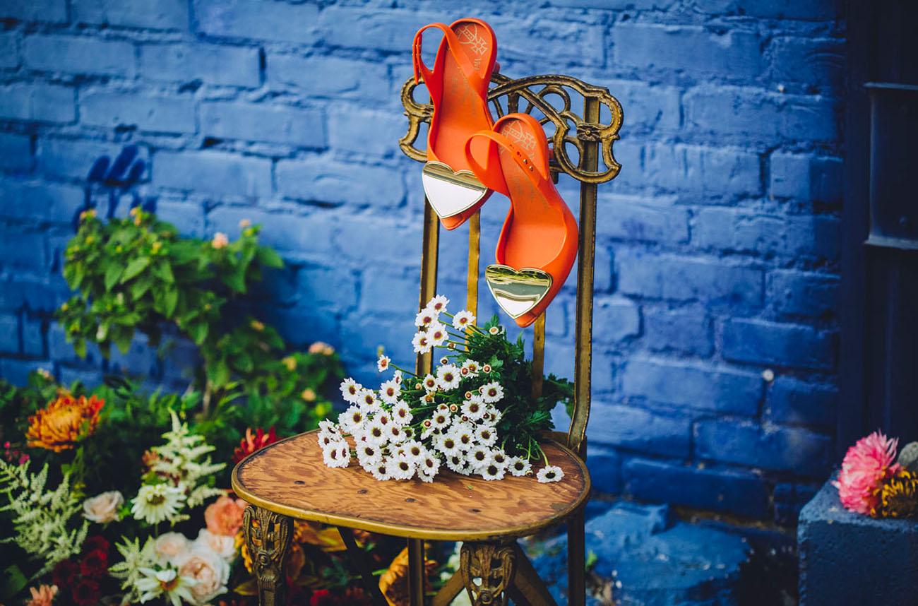 orange heart heels