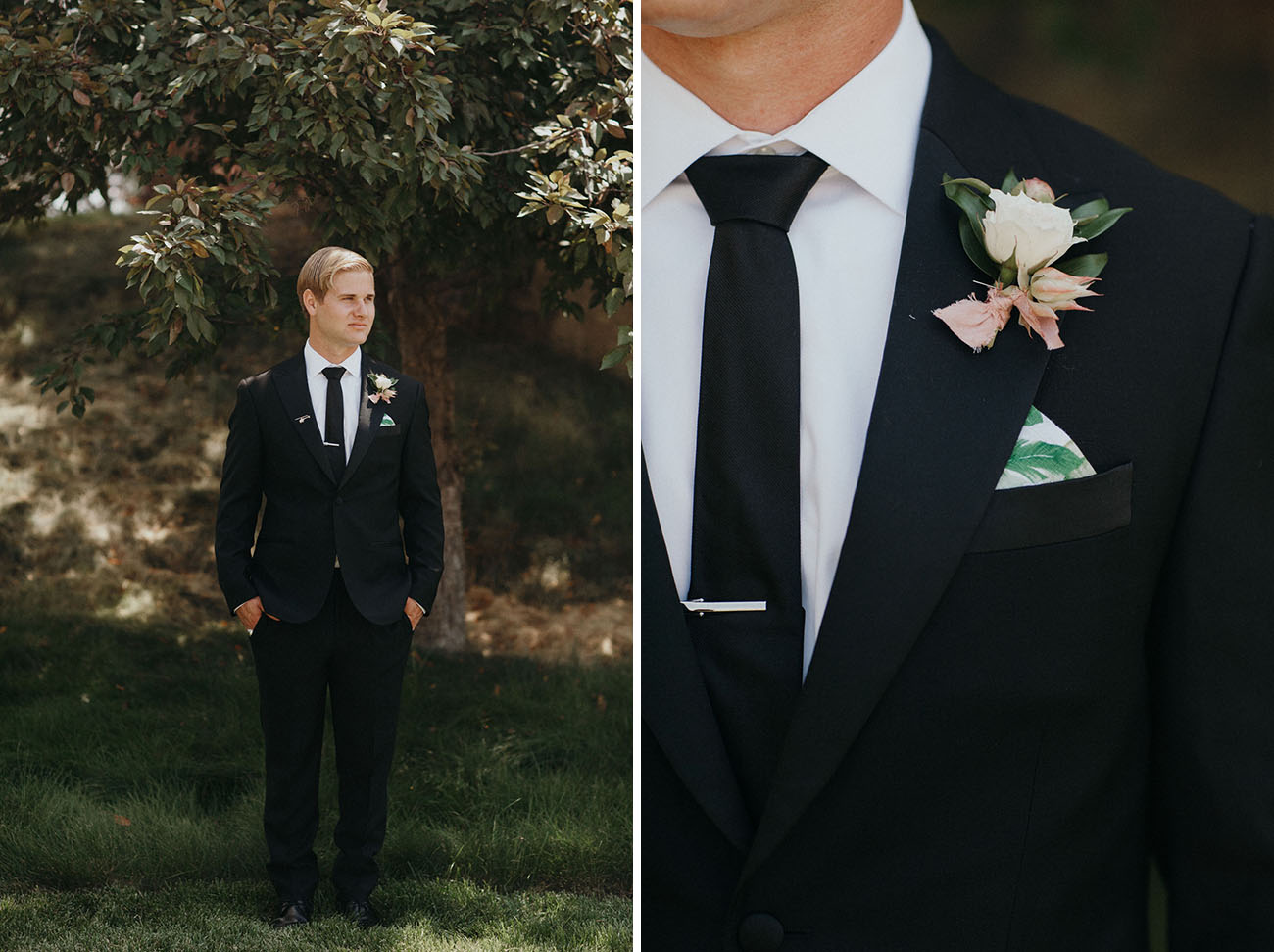 black suit groom