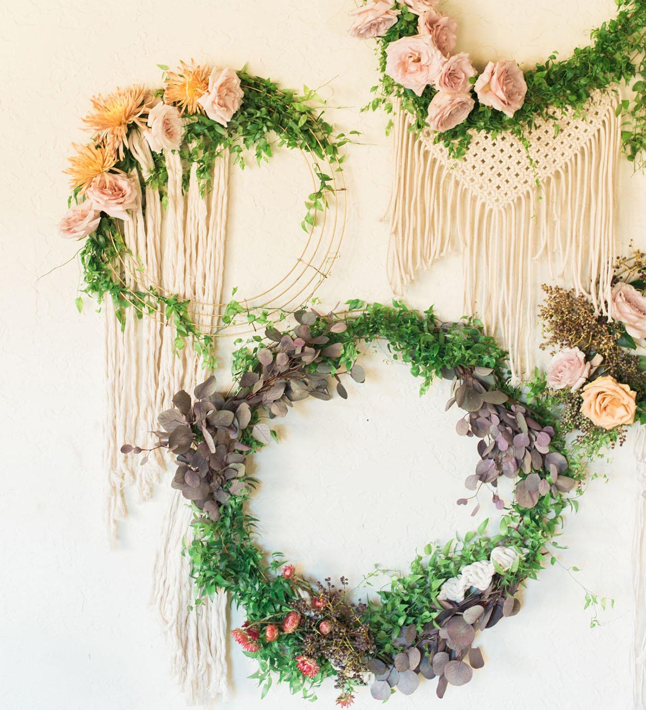 macrame flower wreaths