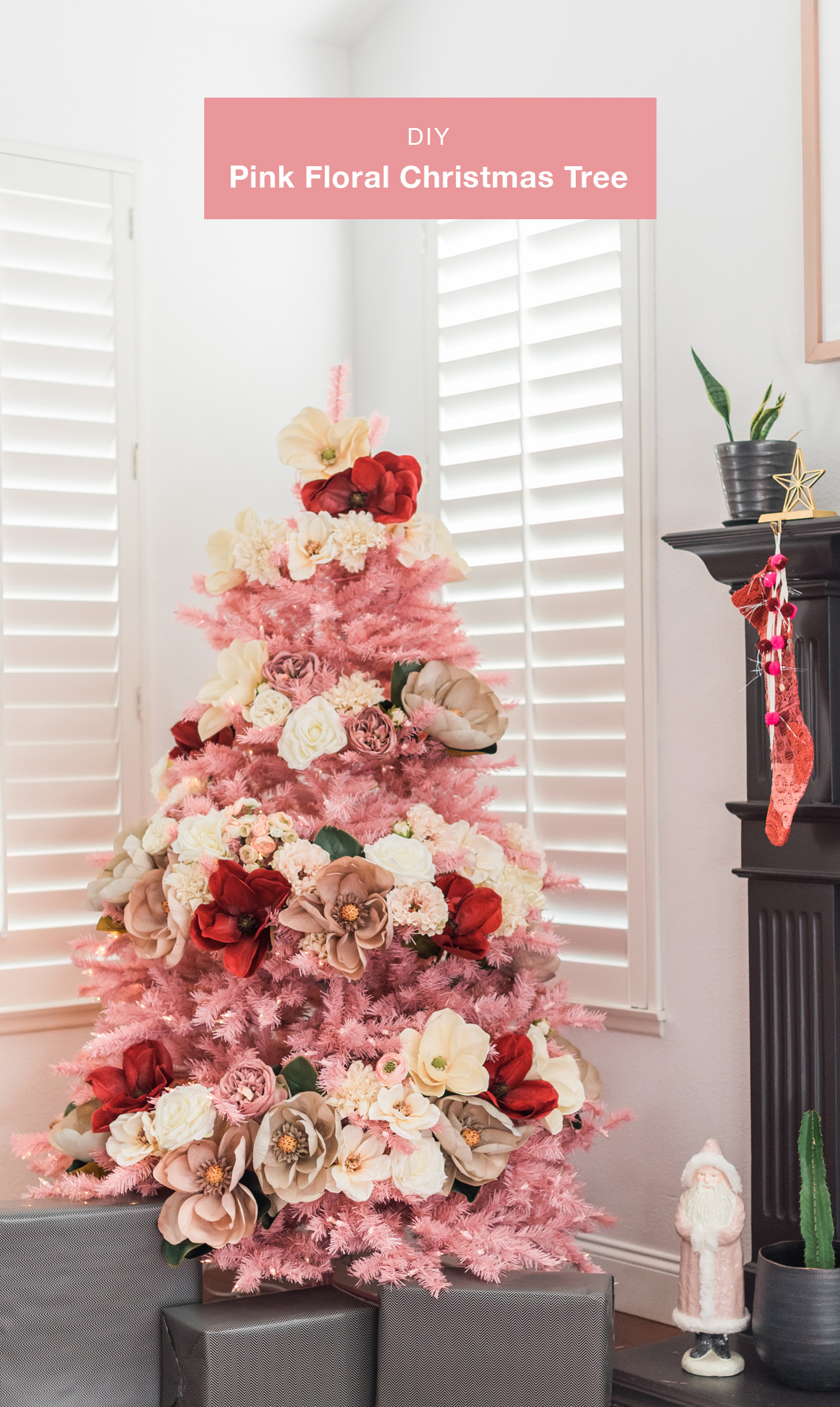 How to Make Your Own Pink Floral Christmas Tree - Green Wedding Shoes