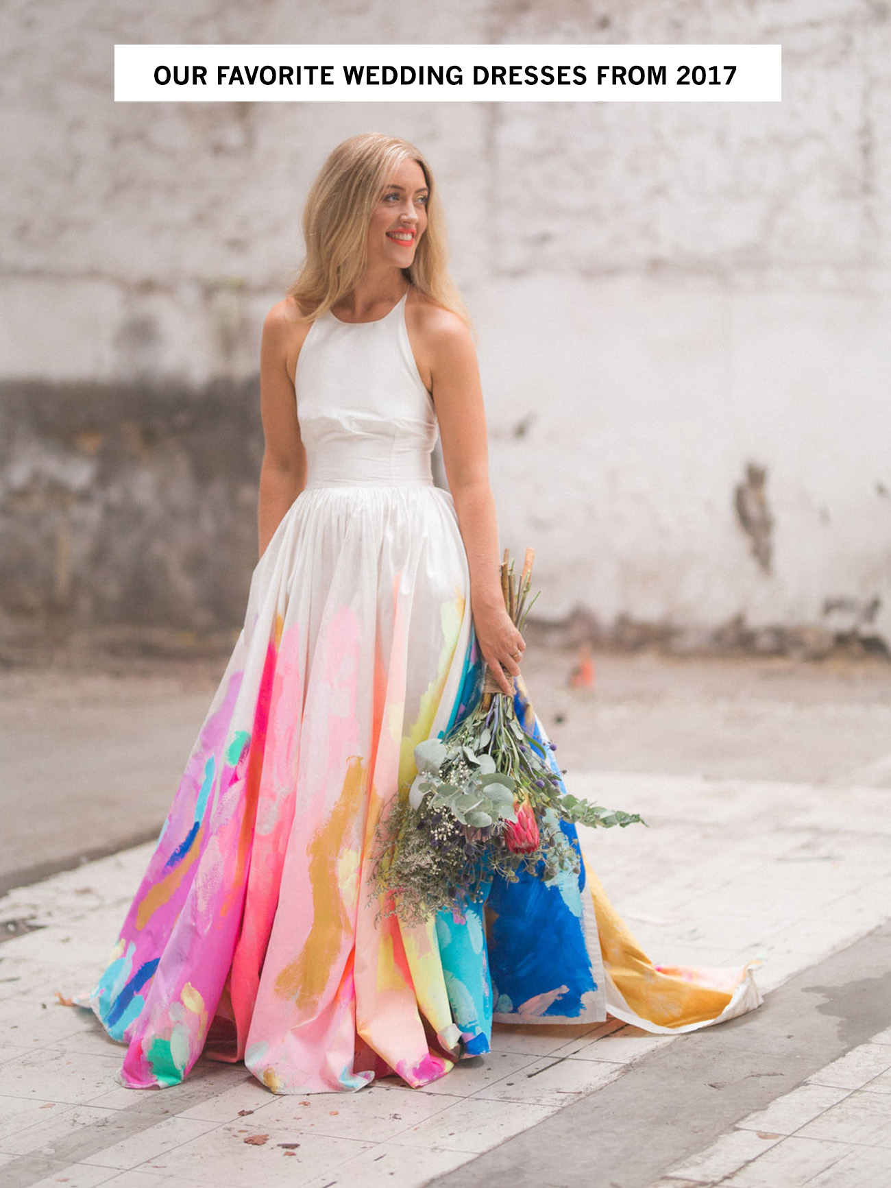 Our favorite wedding dresses from 2017 green wedding shoes from lush tulle skirts intricate lace and illusion necklines to delicate beading and more weve seen a plethora of gorgeous gowns this year junglespirit Choice Image