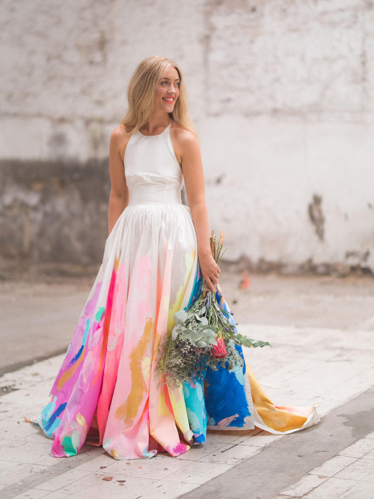 Dress Designed By Tiff Manuell Handmade Patricio Banados Valenzuela From This The Bride Wore A Hand Painted Rainbow Wedding Photo Alex Kwong