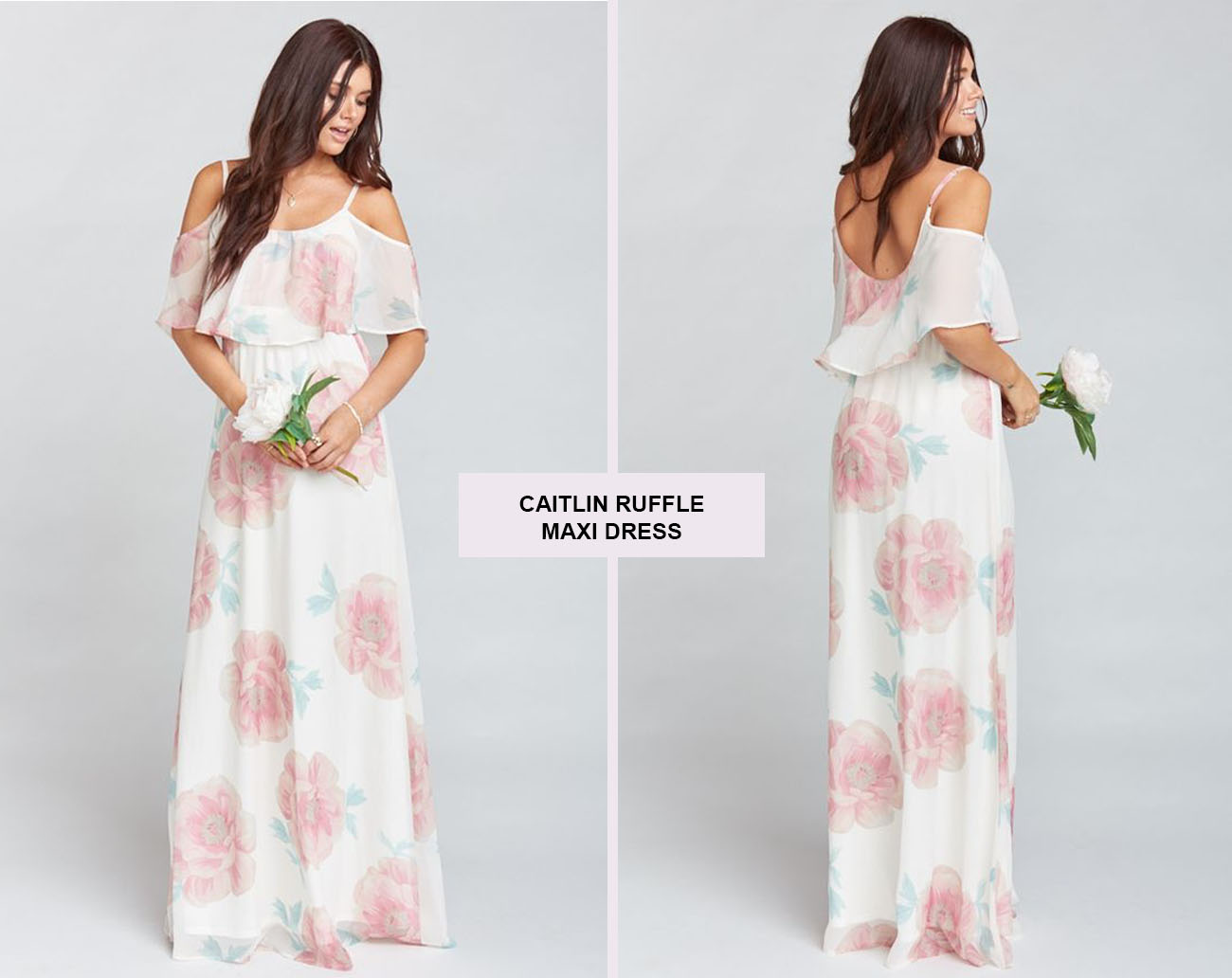 Caitlin Ruffle Maxi Dress in Wedding Bells Floral