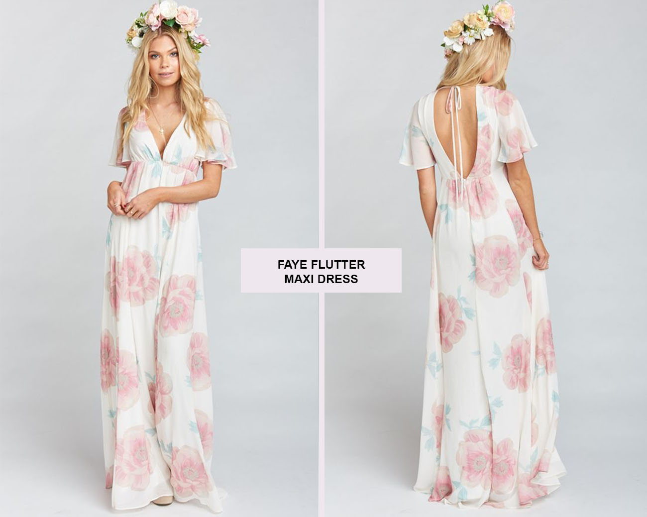 Faye Flutter Maxi Dress In Wedding Bells Fl