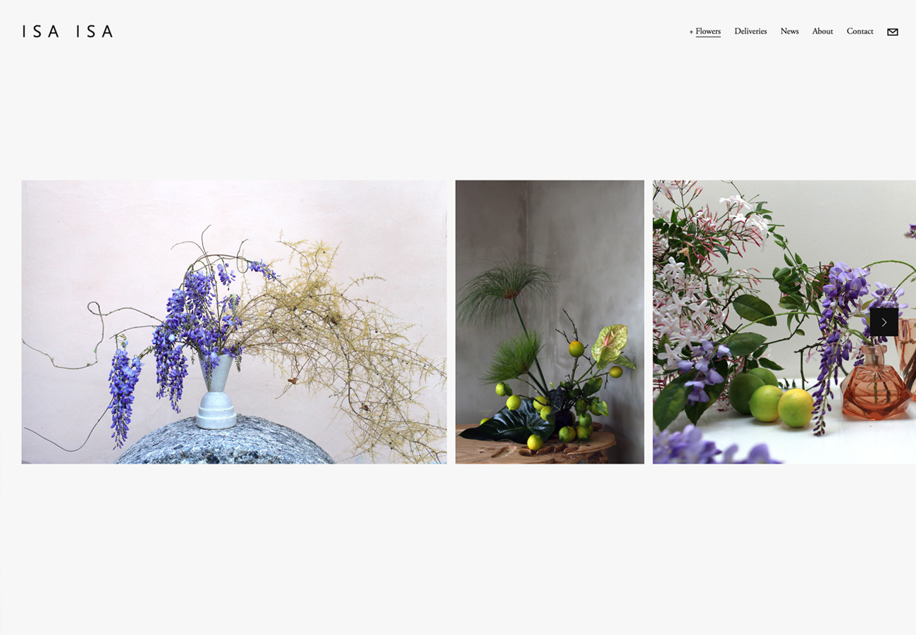 Isa Isa Floral Website built with Squarespace