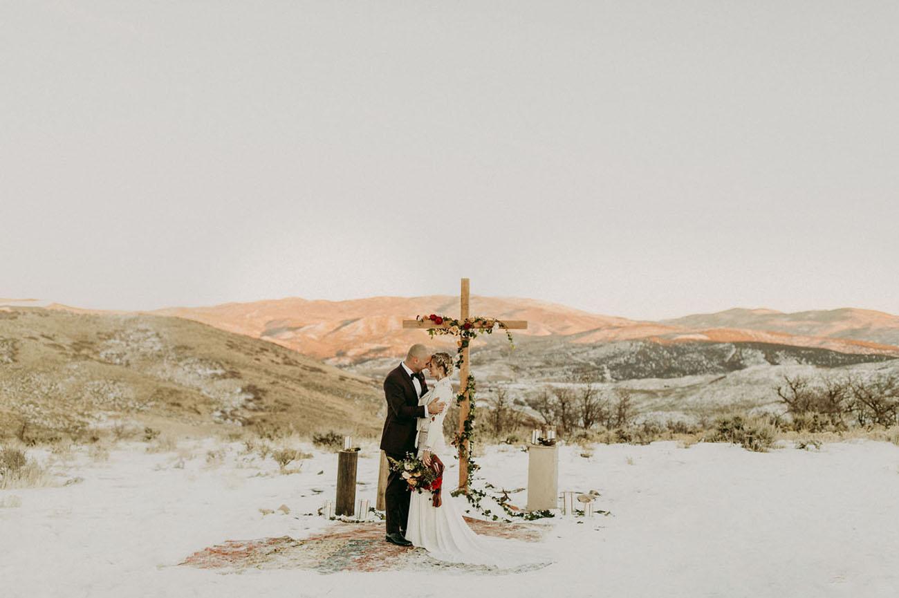 Winter Mountaintop Distillery Wedding