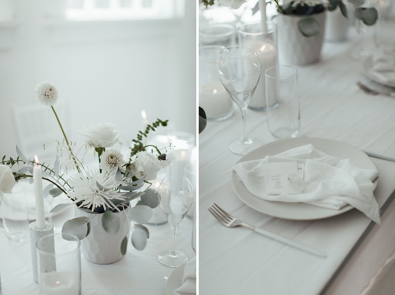 Monochromatic Modern Winter Wedding