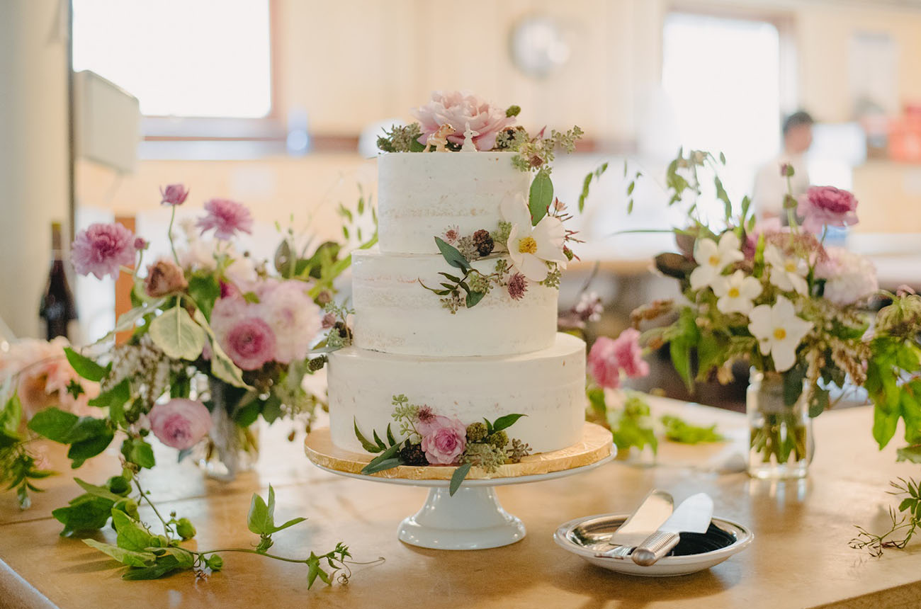 Spring flower wedding cake