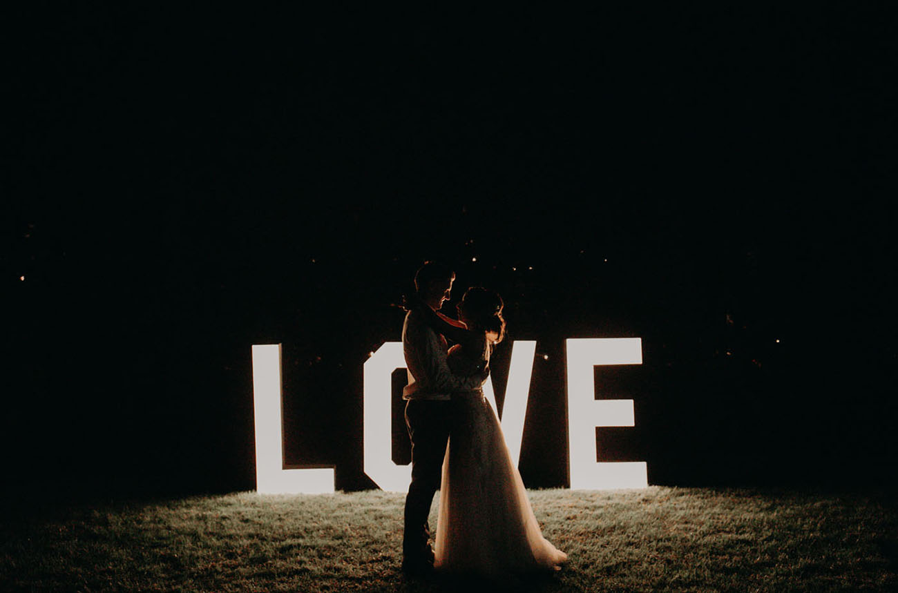 giant love marquee