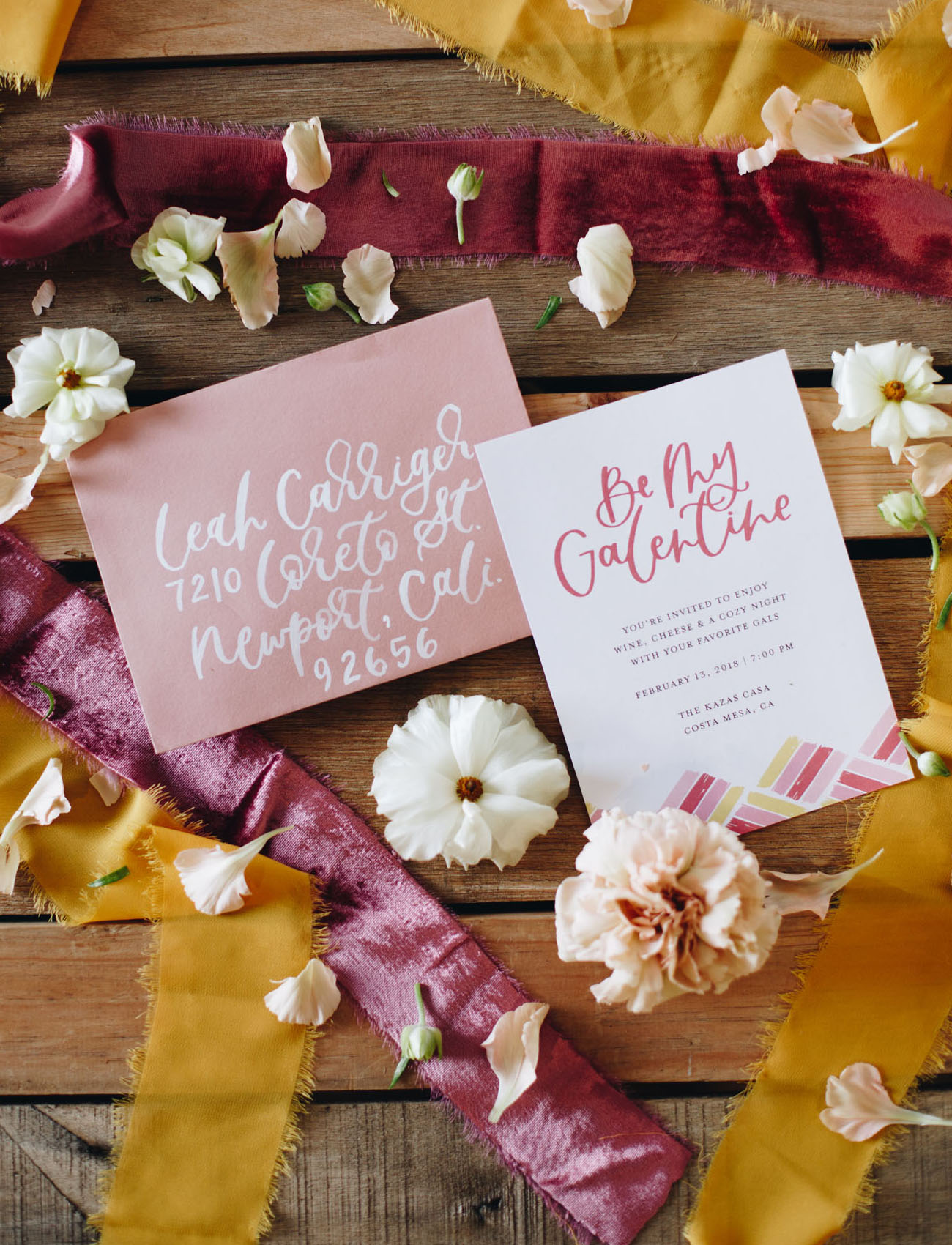 pink calligraphy invitation