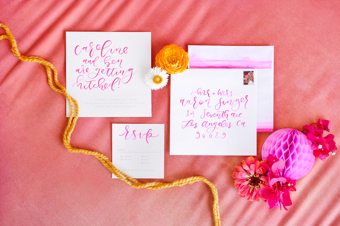 pink calligraphy invite