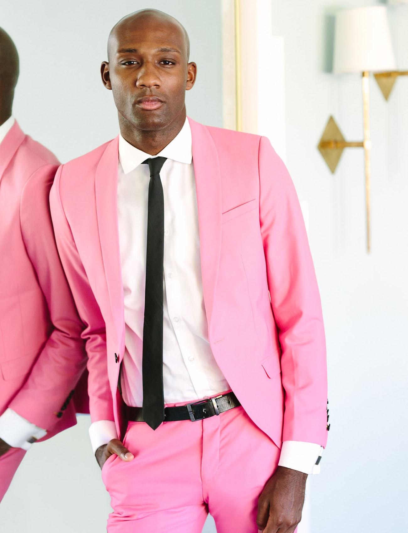 pink groom suit