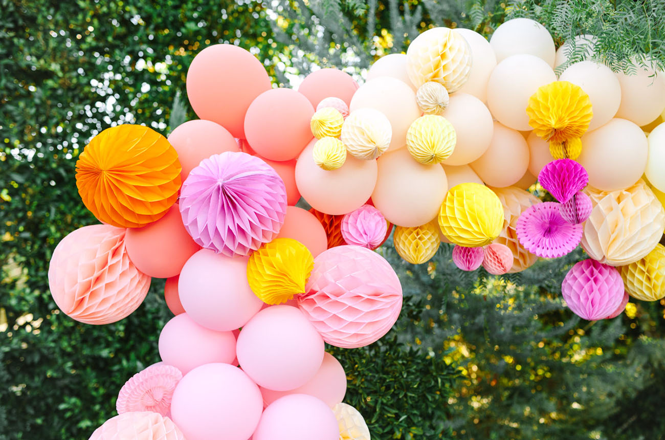 pink balloon arch backdrop