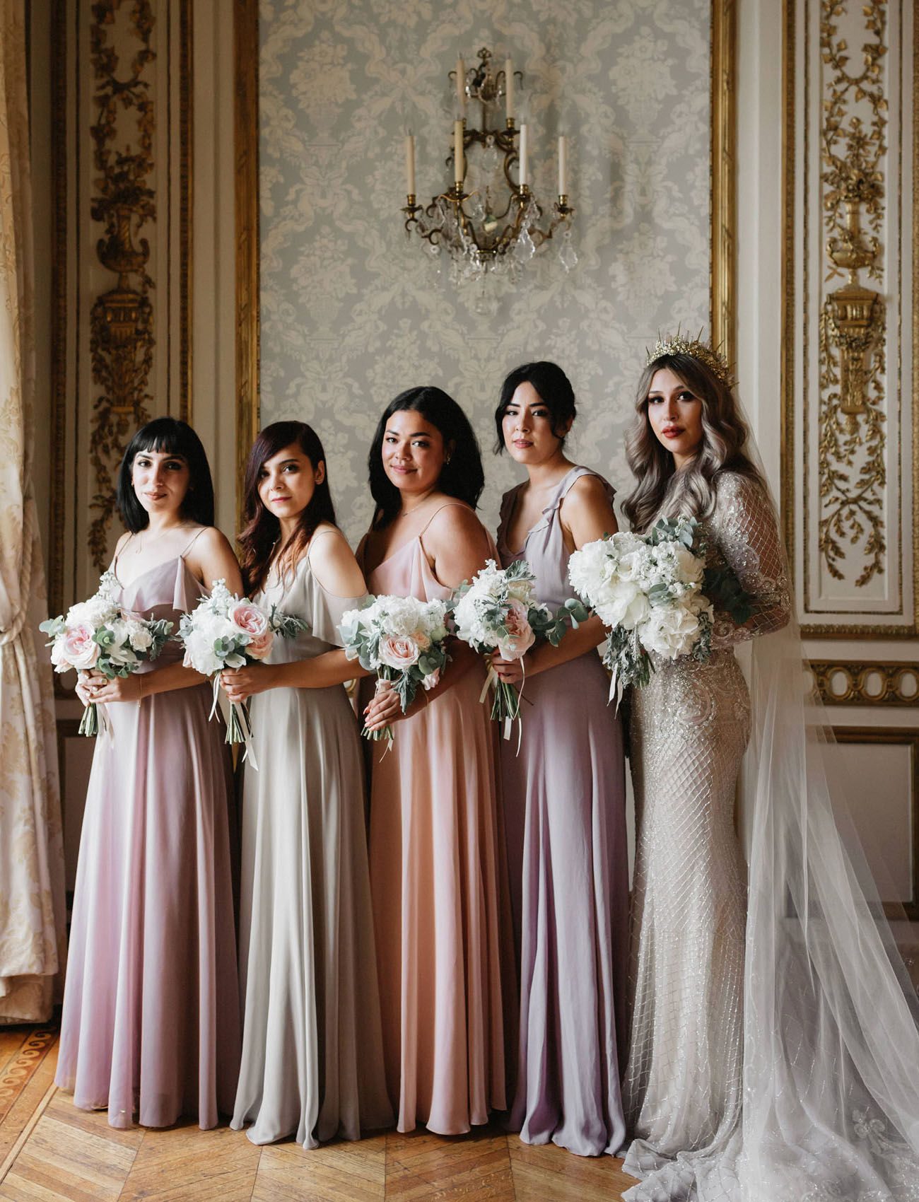 Playing Off The Pastel Hues Featured In Sophia Coppola S Film Bridesmaids All Donned Soft Elegant Colors Marie Antoinette Paris Wedding