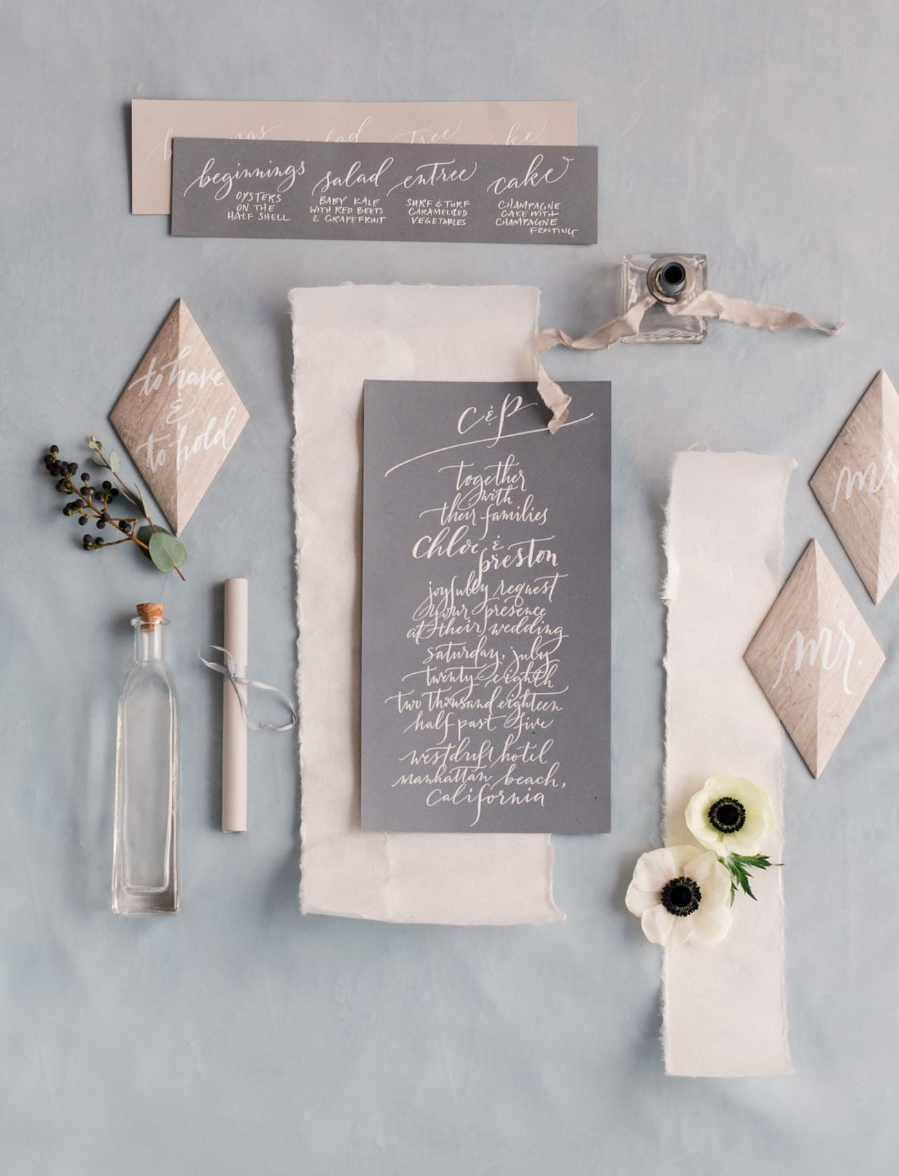gray calligraphy invitation