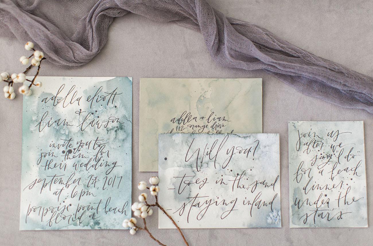 dyed wedding invitation