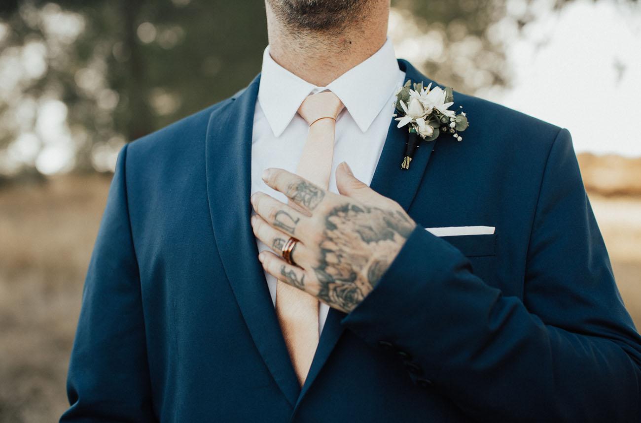 peach wedding tie