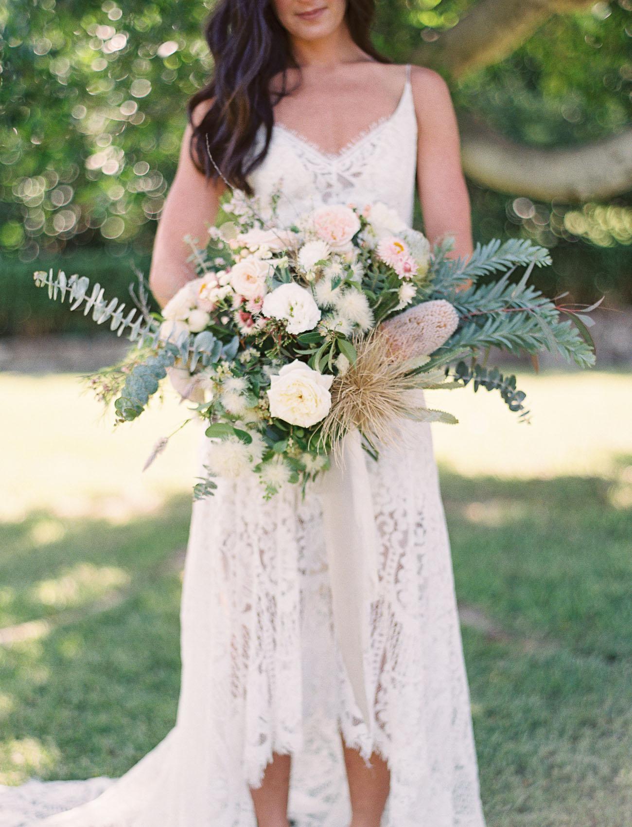 white boho bouquet