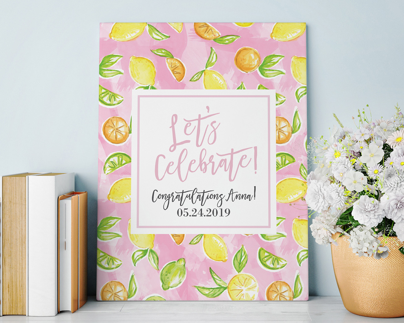 Let's Celebrate Poster with Citrus Theme