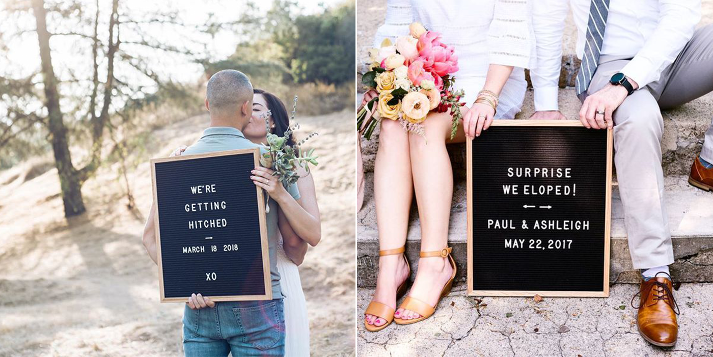 letter board marriage announcement