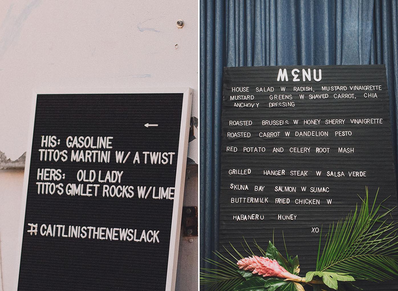 letter board menu