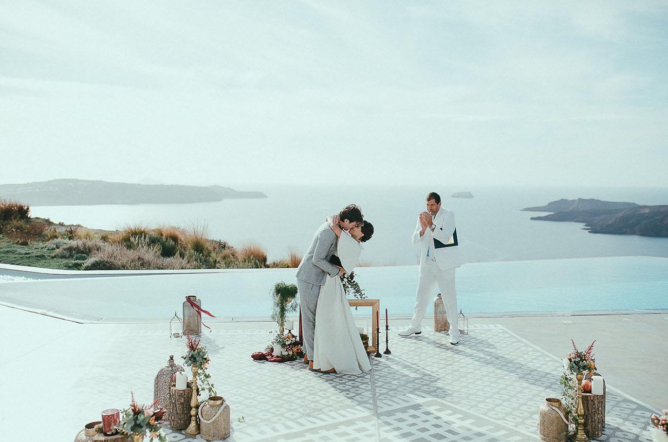 Modern Santorini Elopement