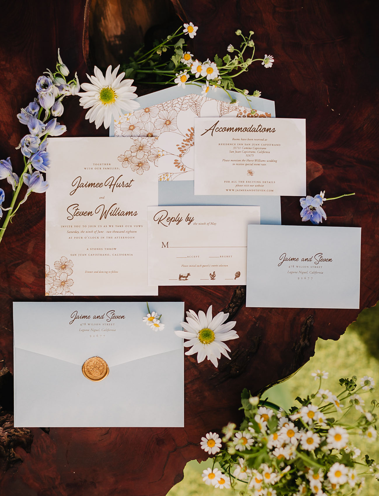 light blue invitation