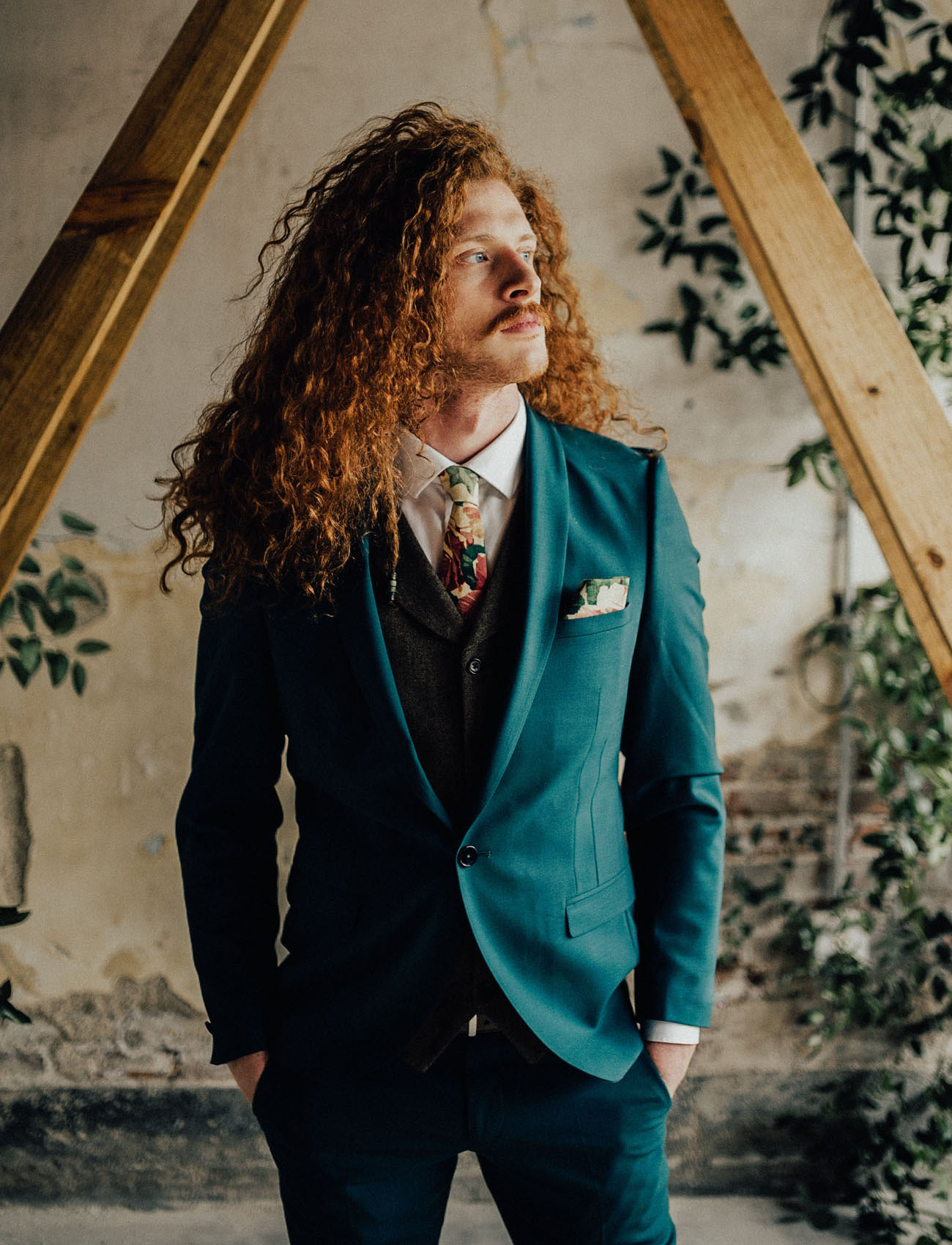 teal groom suit