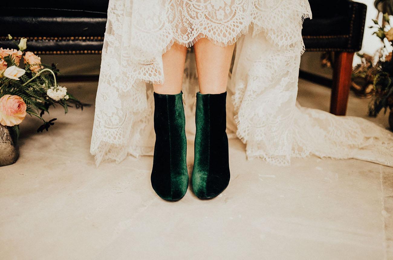 green velvet booties