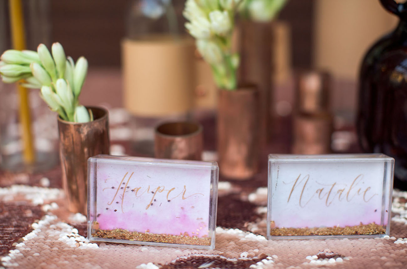 glitter name cards