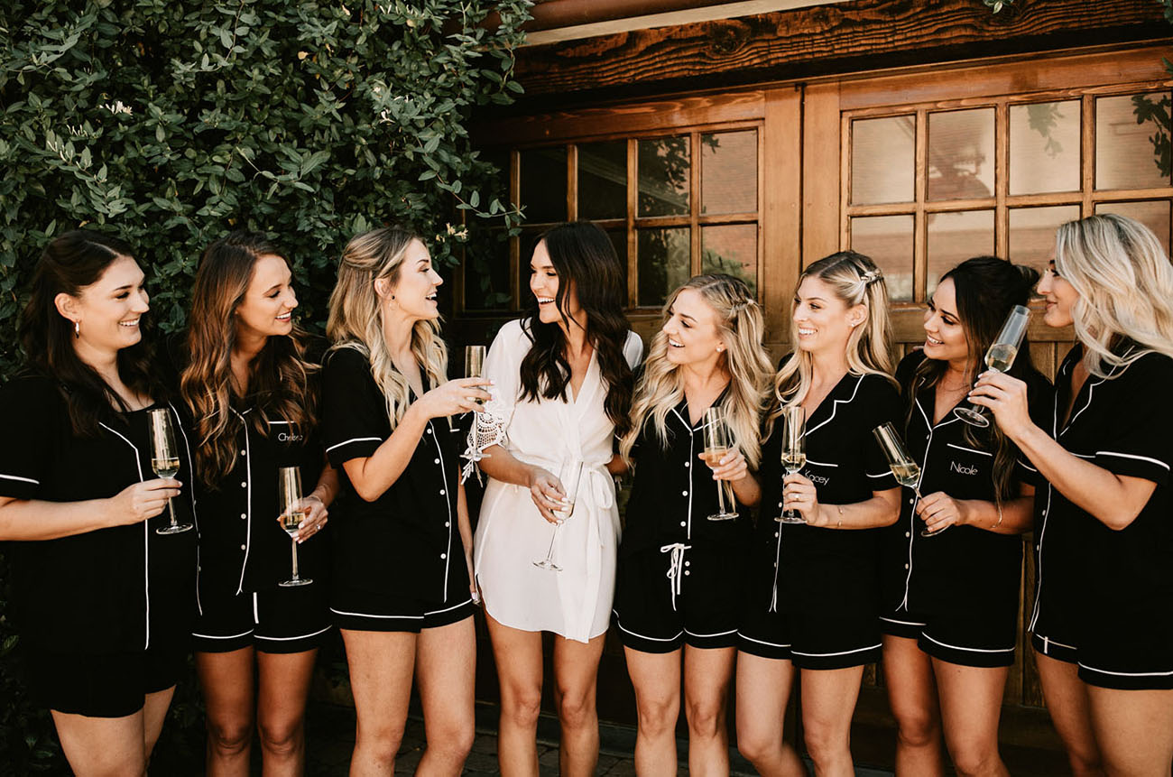 bridesmaids in pjs