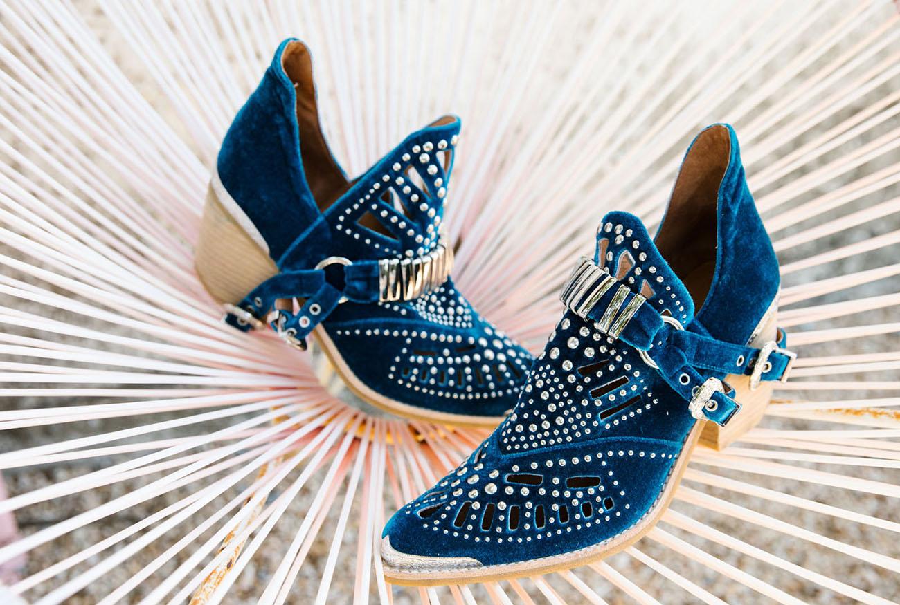 blue bootie heels